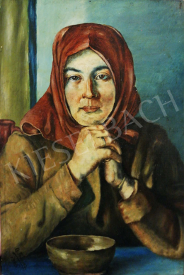 Ismeretlen művész G. Franich jelzéssel - Fejkendős nő, 1926