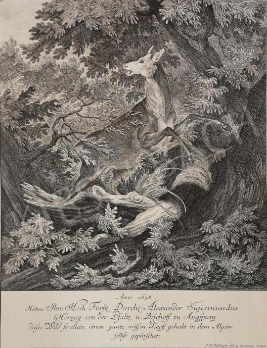 Eladó  Ismeretlen művész J. El. Rüdinger jelzéssel - Űzött vad festménye