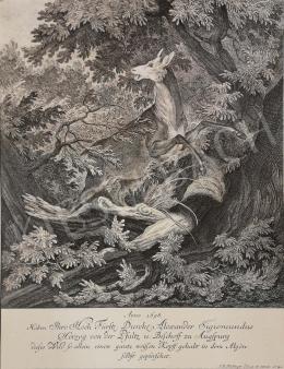 Ismeretlen művész J. El. Rüdinger jelzéssel - Űzött vad