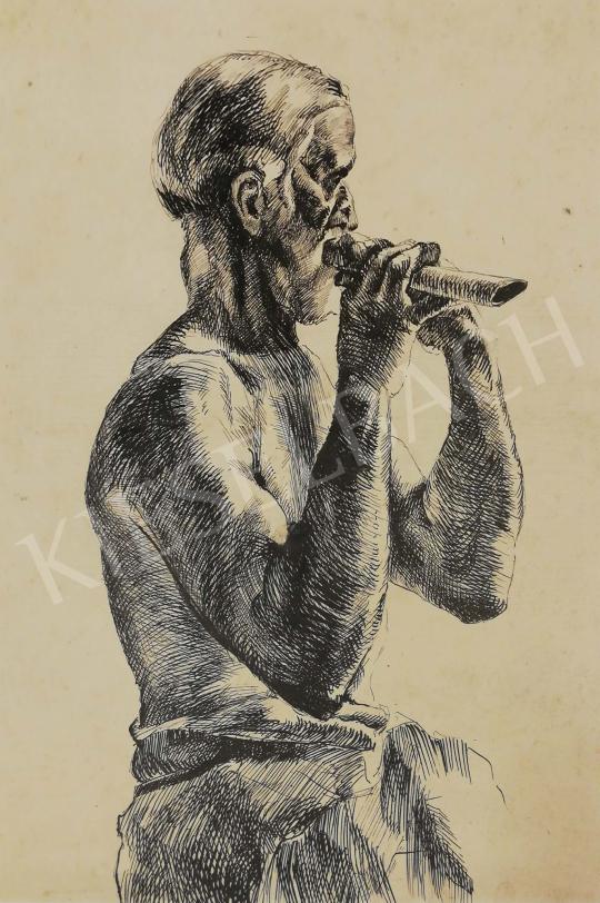 Eladó Ismeretlen magyar festő, 1920 körül - Fuvolás festménye