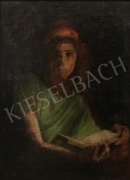 Glatter Ármin - Zöld ruhás lány kezében könyvvel