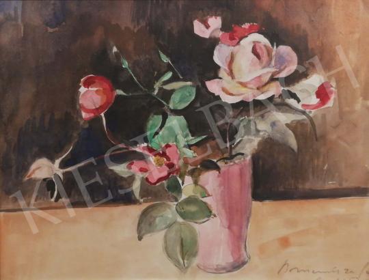 Bornemisza Géza - Frissen szedett vörös rózsák festménye