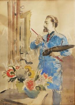 Biai-Föglein István - Önarckép festőállvánnyal és palettával