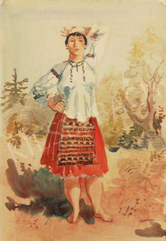 Eladó Biai-Föglein István - Menyecske népviseletben, napsütésben festménye