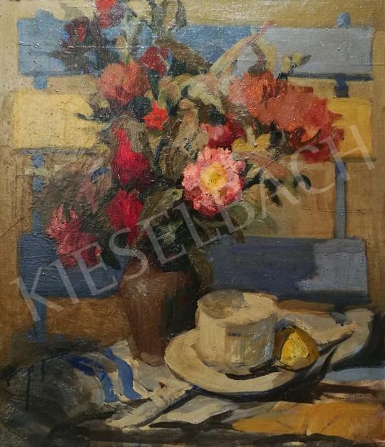 Eladó  Csáki-Maronyák József - Asztali csendélet virágcsokorral és teáscsészével festménye
