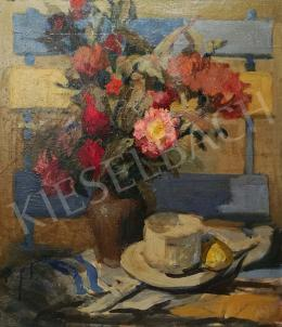 Csáki-Maronyák, József - Table Still- Life with Flowers and Teacups