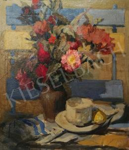 Csáki-Maronyák József - Asztali csendélet virágcsokorral és teáscsészével