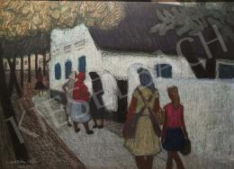Czene Béla - Györöki jelenet vonuló parasztasszonyokkal