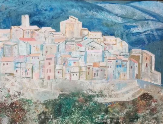 Szinte Gábor - Mediterrán városkép háttérben dombokkal festménye