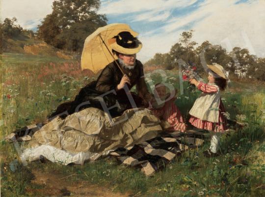 Benczúr Gyula - Koszorút a mamának, 1876 festménye