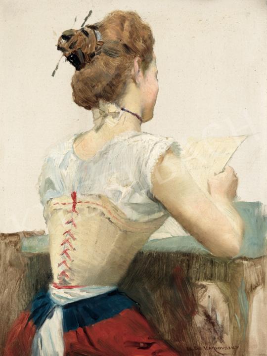 Karlovszky Bertalan - Levelet olvasó lány, 1900 körül festménye