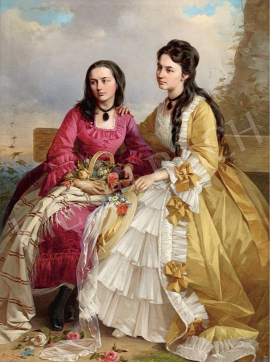 Vastagh György - Fiatal lányok rózsakosárral, 1871 festménye