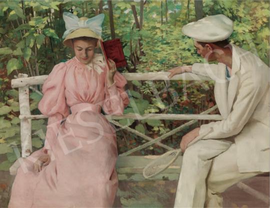 Vaszary János - Udvarlás, 1895 körül festménye