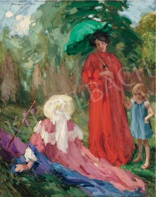 Vaszary János - Séta a parkban, 1907 festménye