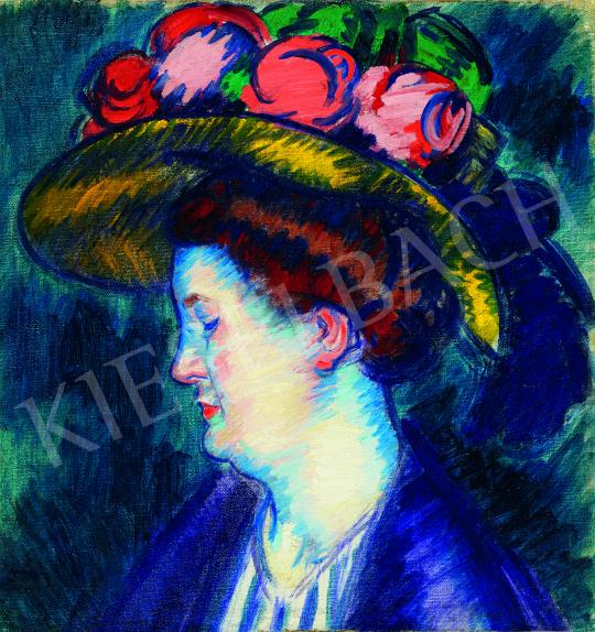 Vaszary János - Színek kékben (A művész felesége), 1910 festménye