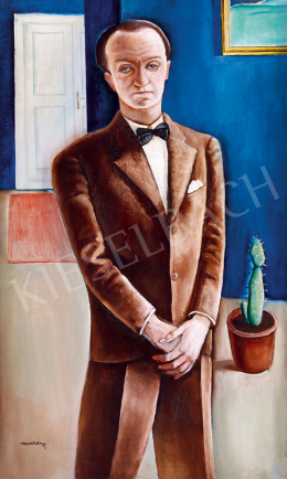 Rauscher György - Öltönyös férfi kaktusszal, 1928 körül