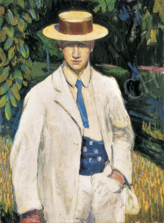 Dobrovits Péter - Szalmakalapos férfi, 1910 körül festménye