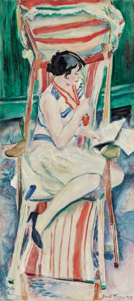 Frank, Frigyes - Mimi on the Deck, 1927 painting