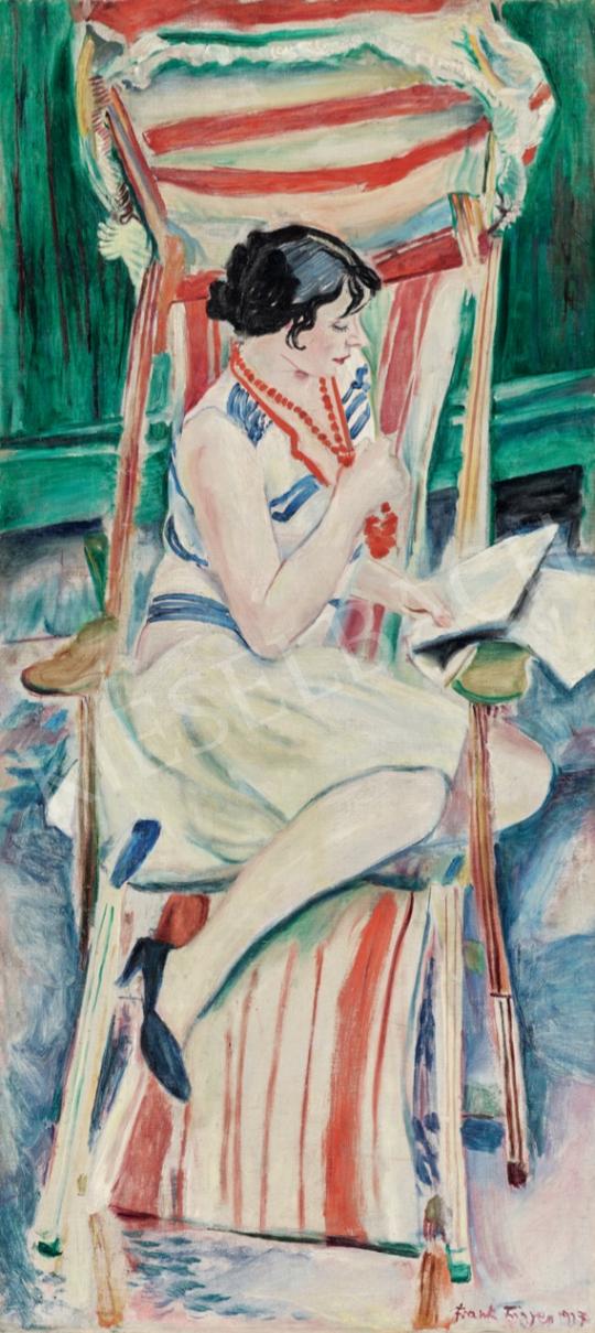 Frank Frigyes - Mimi a nyugágyban, 1927 festménye