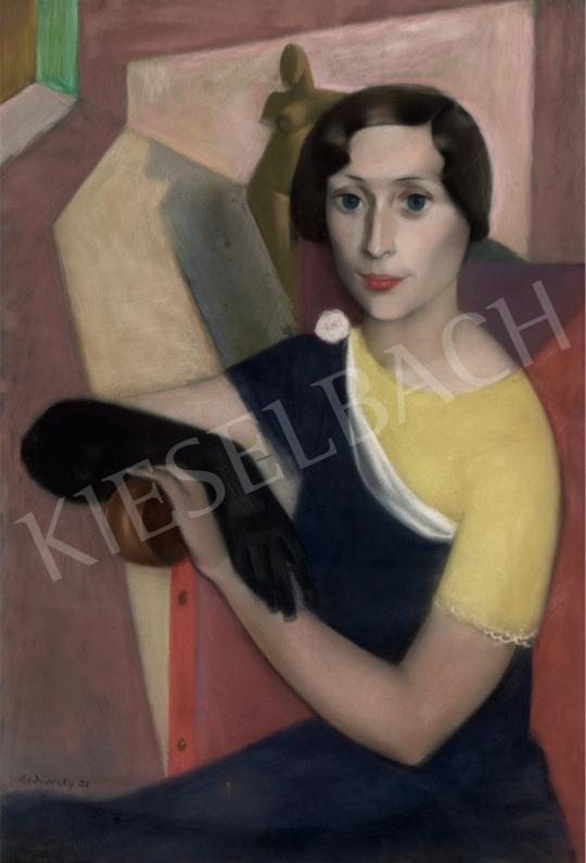 Medveczky Jenő - Fiatal hölgy fekete kesztyűben, 1932 festménye
