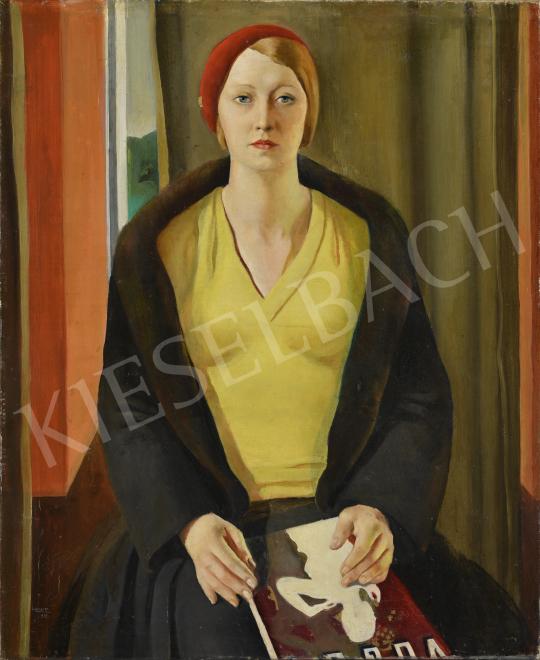 Heintz Henrik - Kalapos hölgy Vogue-gal, 1932 festménye