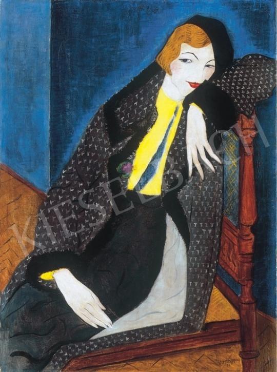 Vörös, Géza - Girl With Violet Bouquet painting