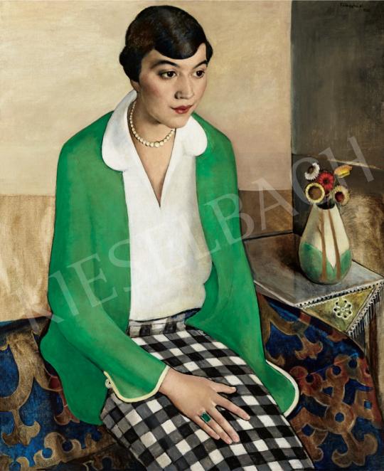 Félegyházi, László - Checked Skirt, 1924 painting