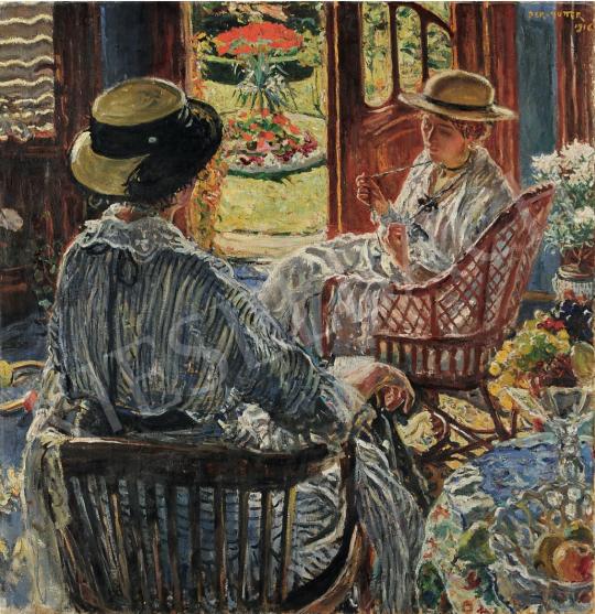 Perlmutter Izsák - Teraszon, 1916 festménye