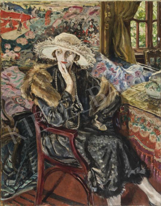 Perlmutter Izsák - Cleo fehár kalapban, 1920-as évek eleje festménye