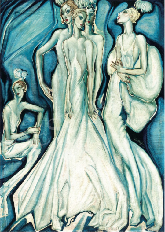 Batthyány, Gyula - High-Society Ladies in White Evening Dresses, c. 1934 painting