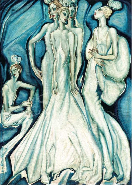 Batthyány Gyula - Mondén hölgyek fehér estélyiben, 1934 körül festménye