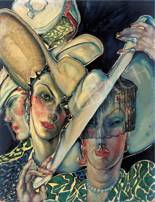 Batthyány, Gyula - Women with Hats, 1930s painting