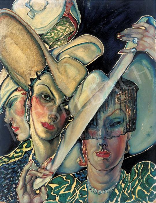 Batthyány Gyula - Kalapos nők, 1930-as évek festménye