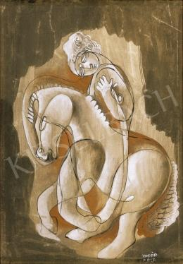 Kádár Béla - Leány lovon pajzzsal