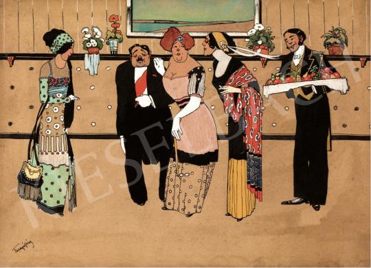 Faragó Géza - Fogadás, 1910-es évek eleje festménye