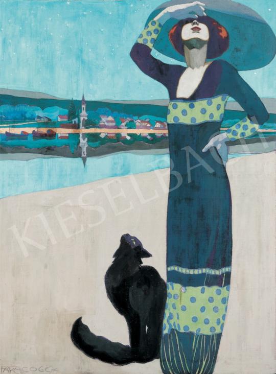 Faragó Géza - Karcsú nő macskával, 1912 festménye