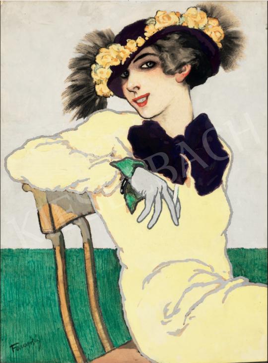 Faragó Géza - Sárga ruhás lány, 1913 körül festménye