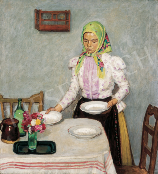 Fényes, Adolf - Girl at Dining Table, 1908 painting
