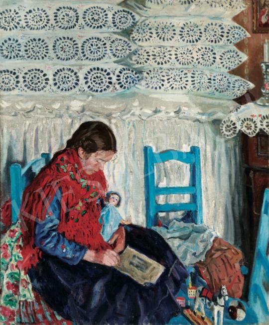 Perlmutter Izsák - Olvasó lány, 1926 festménye