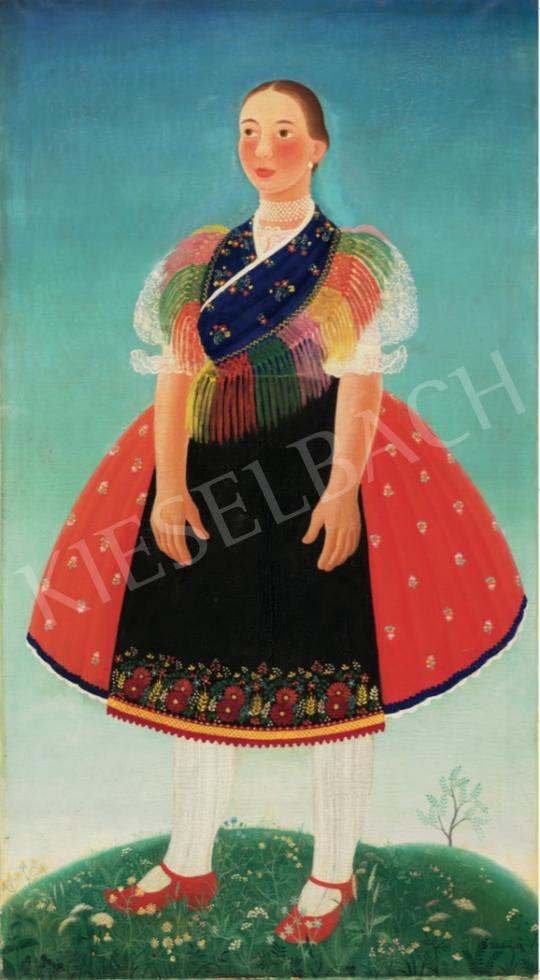 Pekáry István - Lány palóc népviseletben, 1936 festménye