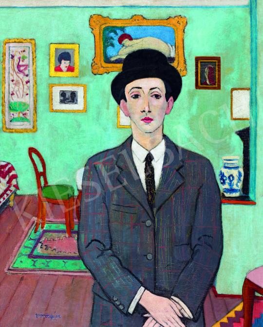 Vörös Géza - Kalapos önarckép, 1930 körül festménye