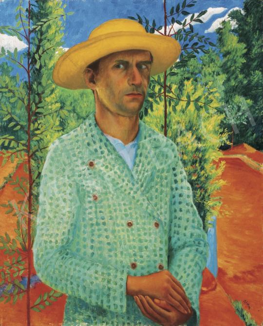 Czimra Gyula - Önarckép szalmakalappal, 1934 festménye