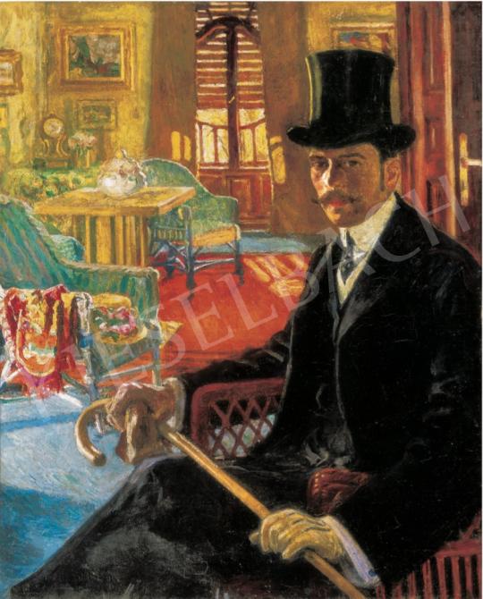 Perlmutter Izsák - Cilinderes önarckép, 1908 körül festménye