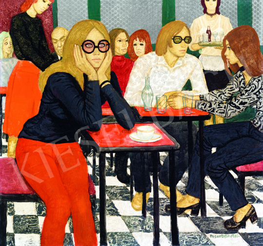 Czene Béla - Piros és fekete (Presszóban), 1971 festménye