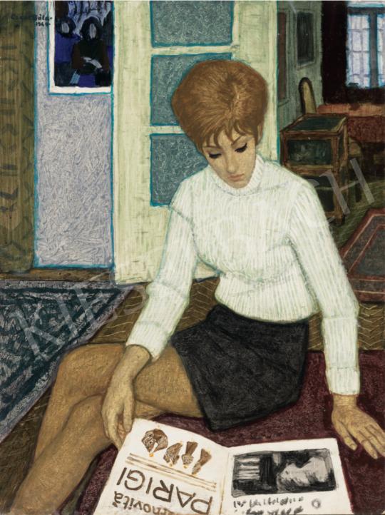Czene Béla - Pulóveres lány divatlappal, 1969 festménye
