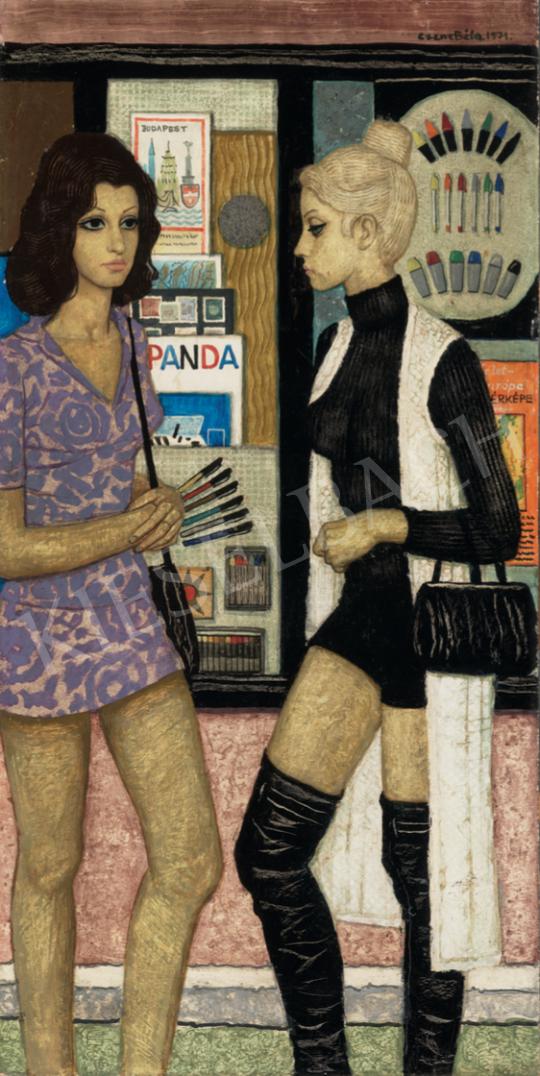Czene Béla - Kirakat előtt, 1971 festménye