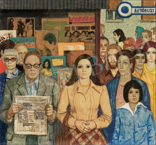 Czene Béla - Megállóban, 1976 festménye