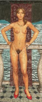 Czene Béla - Mari piros lakkcipőben, 1980-as évek festménye