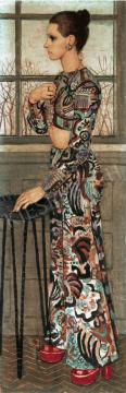 Czene Béla - Márta trapéznadrágban, 1974 festménye