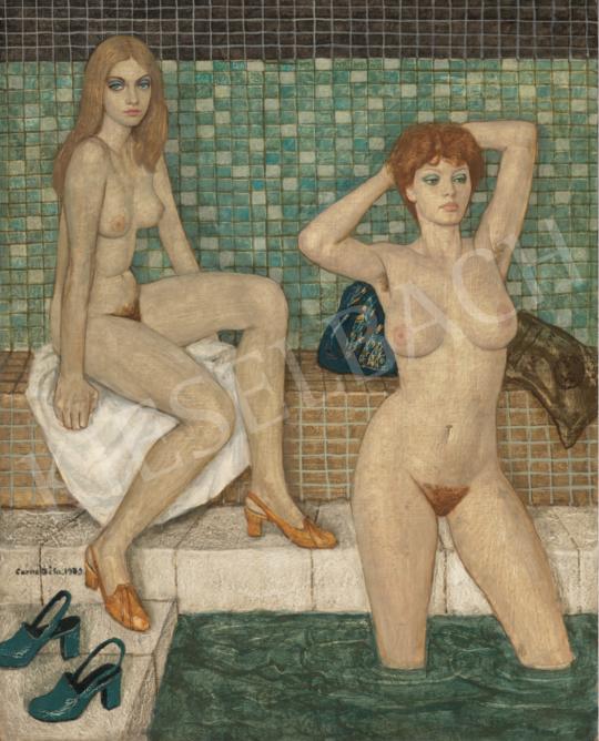 Czene Béla - Fürdőben, 1979 festménye